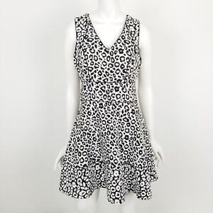 8b68f44d879 Banana Republic Fit Flare Dress Womens Size 4 V Neck Leopard Print ...