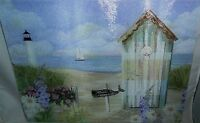Glass Cutting Board Colorful Beach Setting W /beach Hut 15 1/2 X 11 1/2
