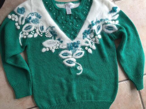 Pull Vert Christine S Design Perles On Clearances Beautifull Vintage 11rSU