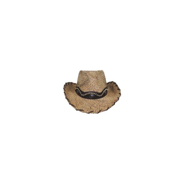 Chapeau de paille NEVADA Marron Ruban cowboy protège-soleil NEUF