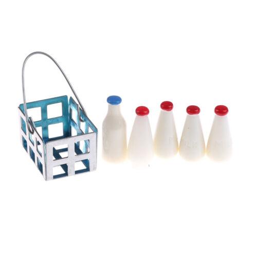 Miniature Milk Bottles Miniature Beverages in Basket Milk bottle Kitchen1:1FBDC