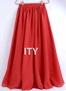 Red-Chiffon-Double-Layer-Maxi-Skirt-Women-Pleated-Retro-Long-Dress-Elastic