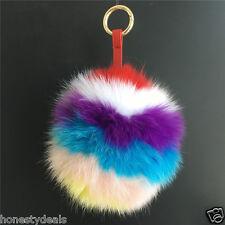 "6"" Rainbow Multi-color Real Fox Fur Ball Stripes Pompom  ,Fur Keychain Bag Charm"