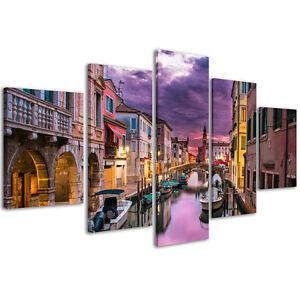 Quadri moderni Stampa su tela Cm 166x90 Quadro Moderno 5 Pezzi Città Venezia XXL