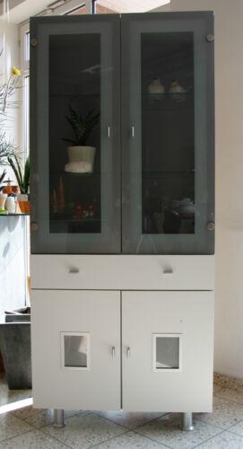 1 Schrank Vitrine Glasvitrine weiß grau  modern Wohnzimmerschrank 184x 81 cm