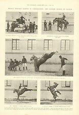 French Military, Cavalry School At Saumur, Horsemanship, 1905 Antique Print,