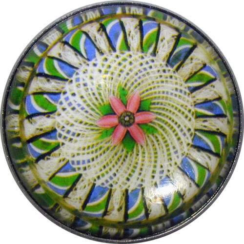 Crystal Dome Button Victorian Paperweight Image Twisted Green Cane VPW 017