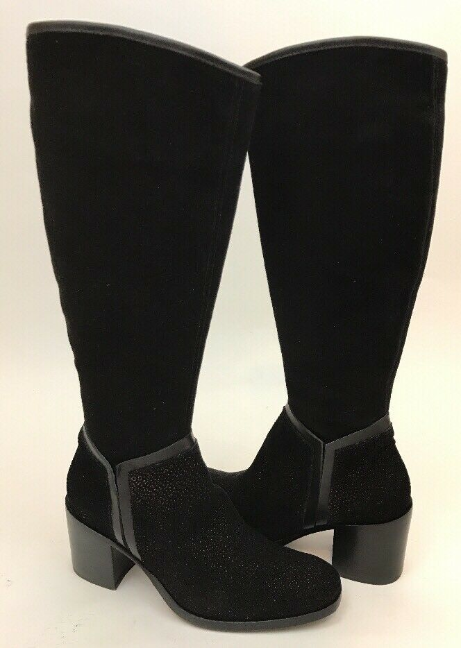 Jo Ghost Parma Black Bronze Suede Leather Tall Boots Sz 36 US 6