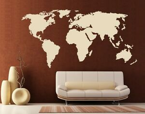 World map highest quality wall decal sticker ebay image is loading world map highest quality wall decal sticker gumiabroncs Gallery