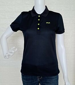 Fila Black Polo Shirt Collared Blouse size may fit Small to Medium frame