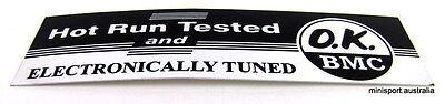 Mini- Leyland, Morris, Moke- Hot run and tested sticker (Australian made)