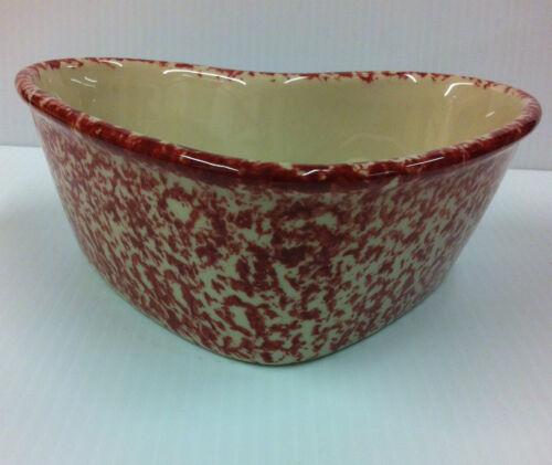 Henn Pottery Cranberry Spongeware STEVE/'s Heart Bowl USA Stoneware Old Glory RED