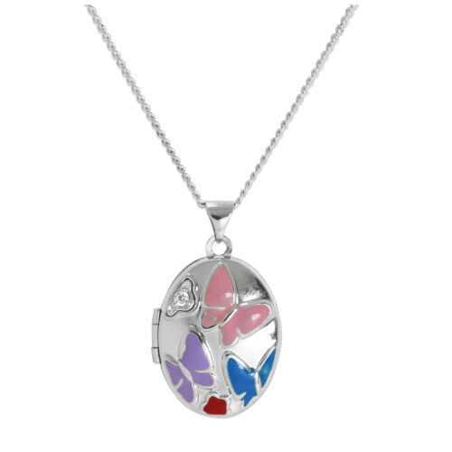 approx. 60.96 cm Plata esterlina CZ Cristal Medallón /& w Enamel mariposas en cadena 16-24 in