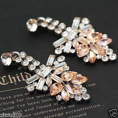 "Design Lady Bib Statement clear crystal long Ear Studs earrings hot 1 7/8"" e266"