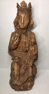 Belle-Statue-De-La-Vierge-Marie-A-L-039-enfant-Fin-XVI-Eme-Siecle-H-42-cm-Espagne