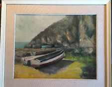 Original Oil Painting Seascape Signed Impressionist Boats And Mountain Nice!