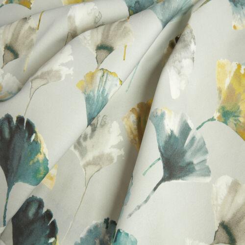 Ochre Mustard Teal Floral Eyelet Curtains Modern Spring Flower Ring Top Curtains