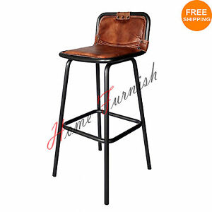 Vintage Style Industrial Bar Counter Stool Leather Seat