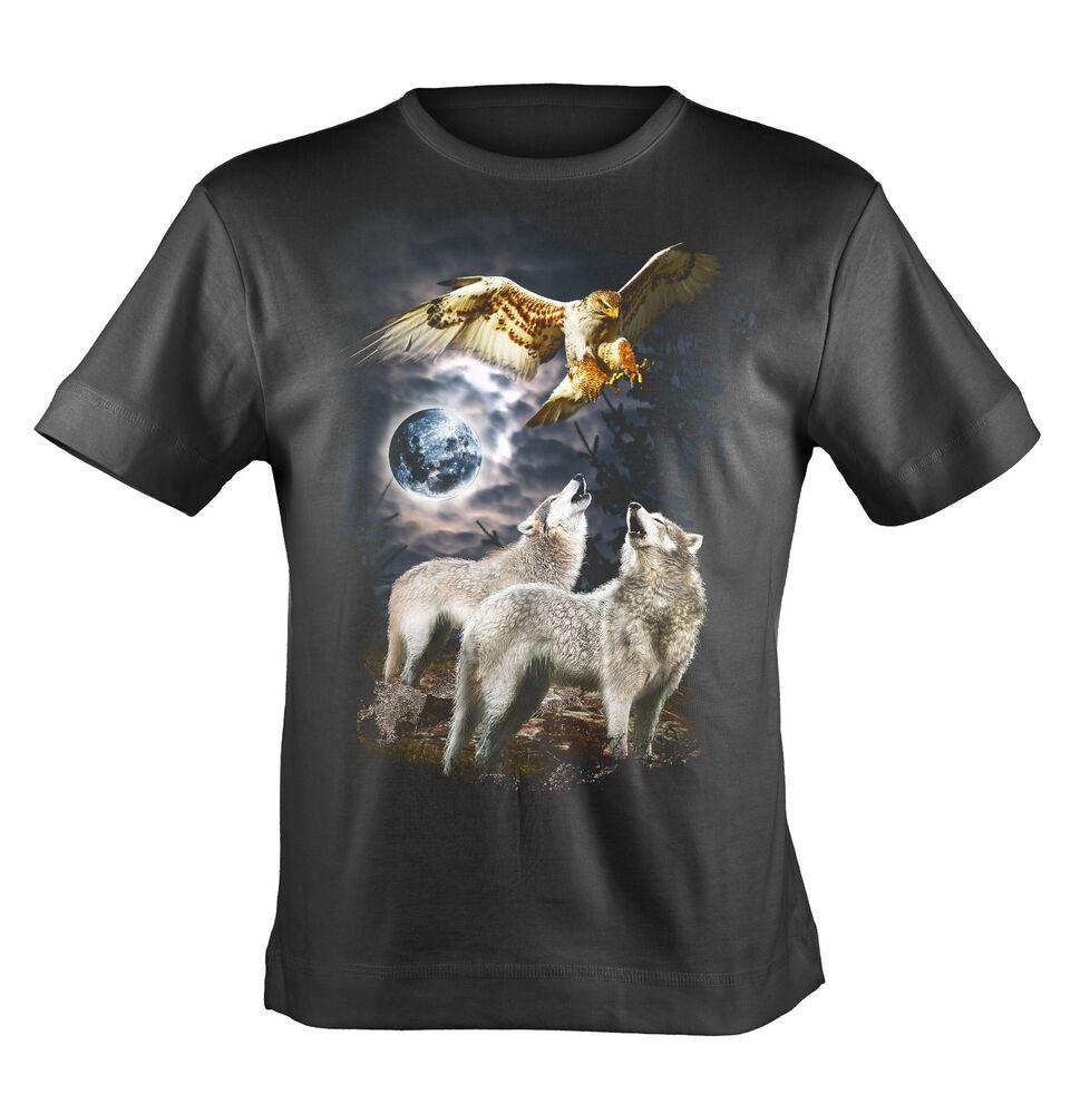 Bushfire Enfants T-Shirt Cerf-volant loup et aigle 100/% Coton Noir bshk 053