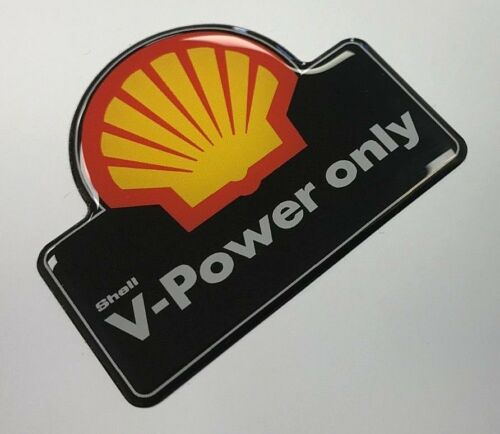 Black Sticker 55mm x 45mm SHELL V-Power only HIGH GLOSS DOMED GEL FINISH