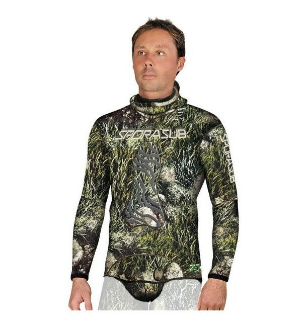 Sporasub 3mm Sea Green Camo Wetsuit Top Only Men's Small Spearfishing Scuba Dive