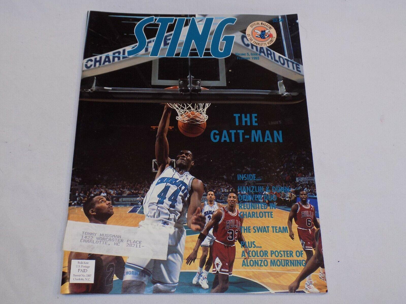 Image 1 - Charlotte Hornets Sting Magazine Feb 1993 Kenny Gattison Alonzo Mourning Poster