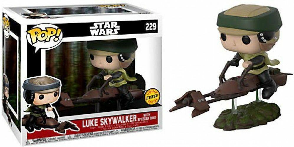 Funko Pop  49a Star Wars Luke Skywalker with Speeder Fahrrad Figurine Chase  229