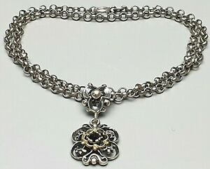 Trachtenschmuck-Collier-800-Silber-punziert-Teilvergoldet-Granat-Besatz-A190
