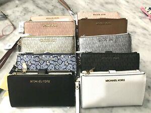 e8b15a97973f Michael Kors Jet Set Double Zip Phone Case Wallet Wristlets Multiple ...
