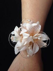Image Is Loading Wedding Prom Wrist Corsage Beige Champagne Lilies Diamond