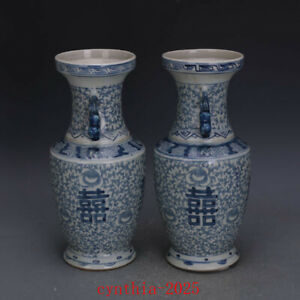 """11.6""""Chinese antique Porcelain qing Dynasty Blue & white Happy word vase"""