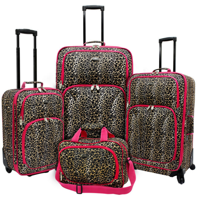 US Traveler Fashion 4-Piece Pink Leopard Spinner Suitcase Rolling Luggage Set