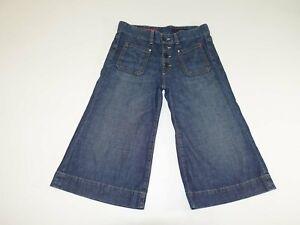 AG Adriano Goldschmied Women's Savoy Wide Leg Capri Jeans Size 29 Button Fly