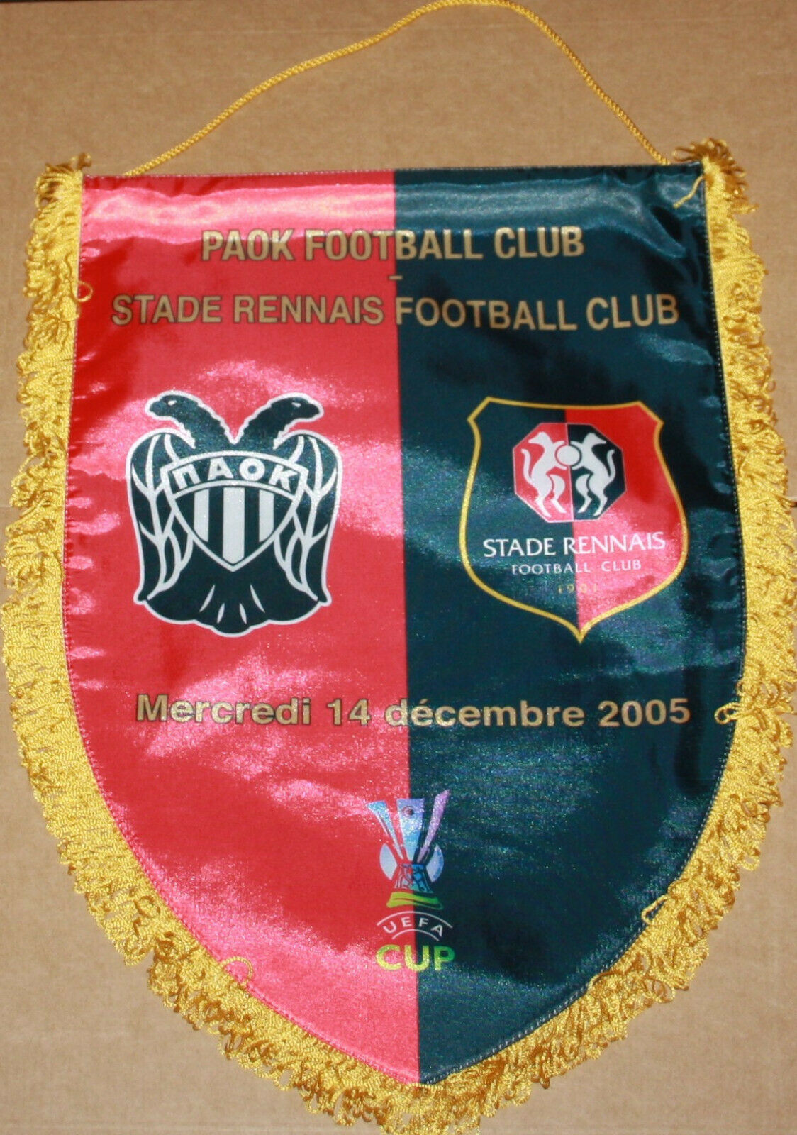 PENNANT GAGLARDETTO FANION OFFICIEL PAOK SALONIKI STADE RENNAIS UEFA CUP 2005