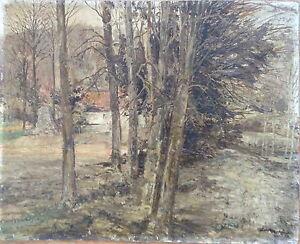 LUDWIG-MUTERT-1888-IBBENBUREN-OLGEMALDE-HAUS-IM-WALD-VERZEICHNET-ANTIK