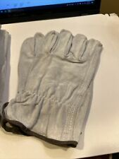 Lot Of 4 Pair Nos Work Garden Gloves Large 8467 Leather Suede Grey