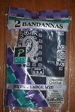 NOS VTG Pkg of 2 Indigo Blue Bandana 21x22 13960 USA ALL COTTON NIP Handkerchief