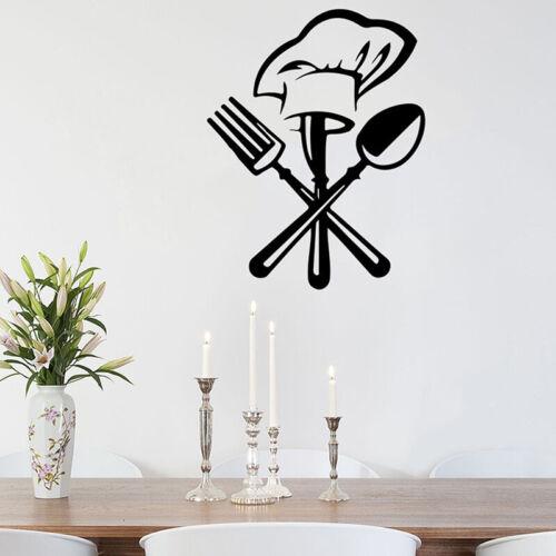 Besteck Gabel Kochmütze Wandaufkleber für Küchenrestaurant Wandtattoo BCXJ