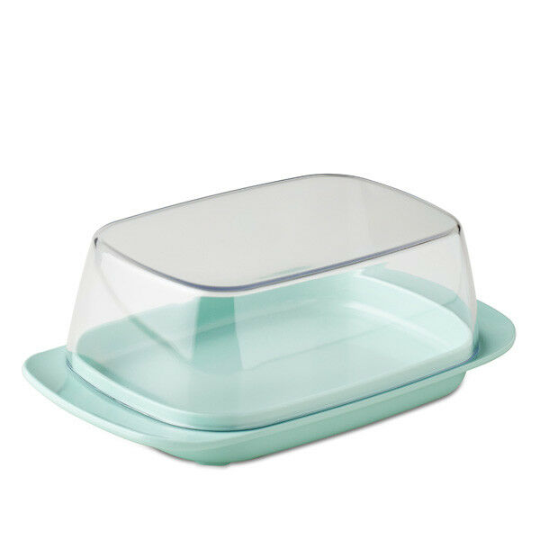 Rosti Mepal Plastic Butter Dish, Clear with Retro Green Base Melamine Breakfast
