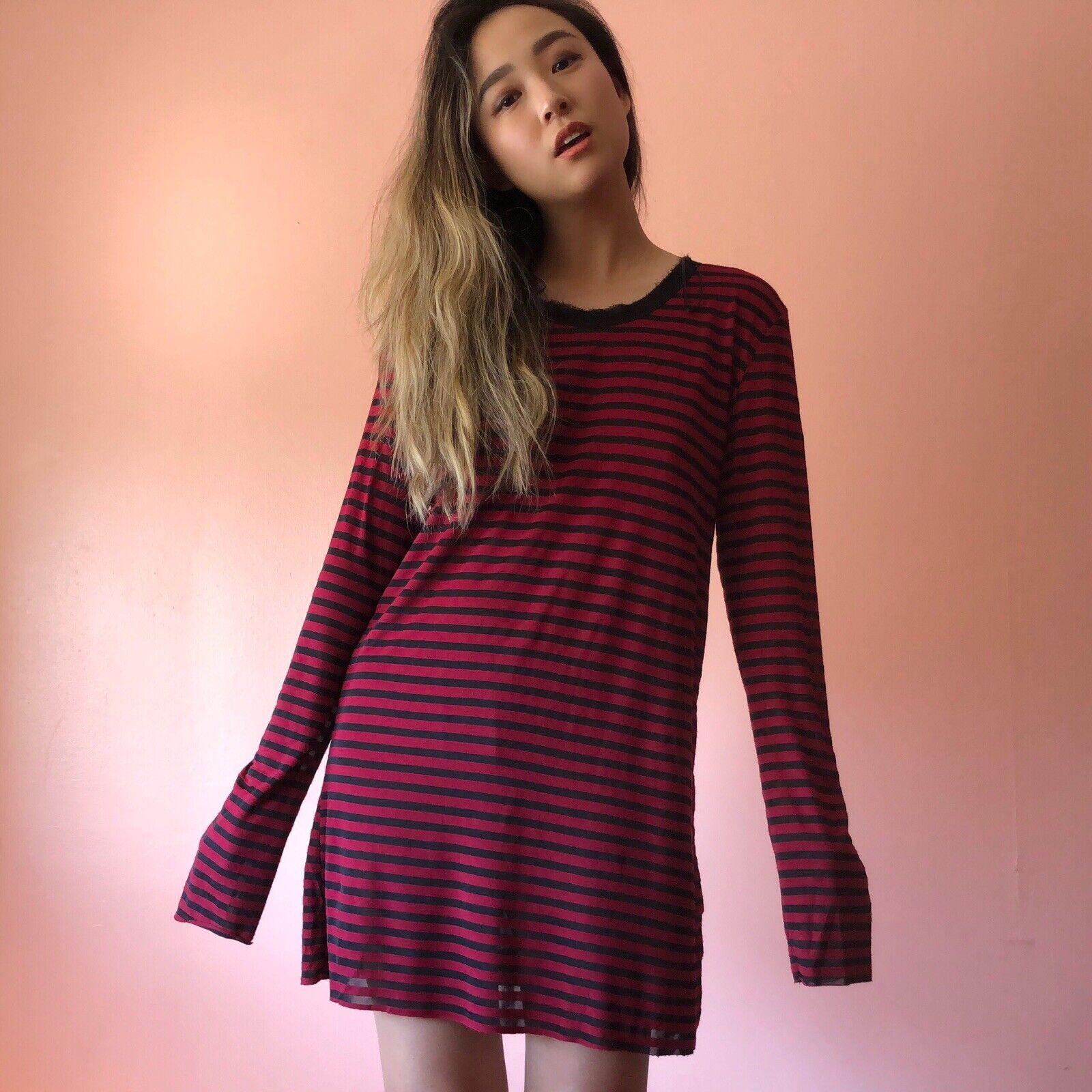 Zara rot schwarz Stripe LS Mini Dress