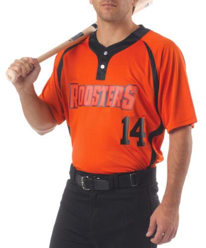 N4229 A4 Men/'s Moisture Wicking Polyester Two Button Baseball Henley T-Shirt