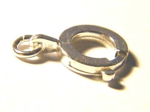 Sterling Silver Heavy Bolt Ring Clasp  10mm Flat Profile w//jump ring .925