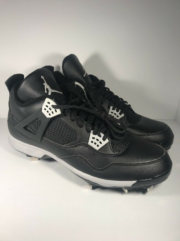 NEW Nike Air Jordan 4 IV Metal Baseball Cleats Oreo Black 807710-010 Size 15
