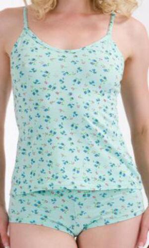 Ladies Floral Camisole Vest Knickers Pyjamas Set Pink White Mint Lemon M L XL