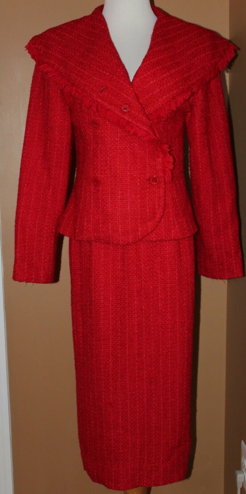 Gazzelle Ciampi Magali Red Knit Skirt Suit 8 Shawl Collar Long Skirt