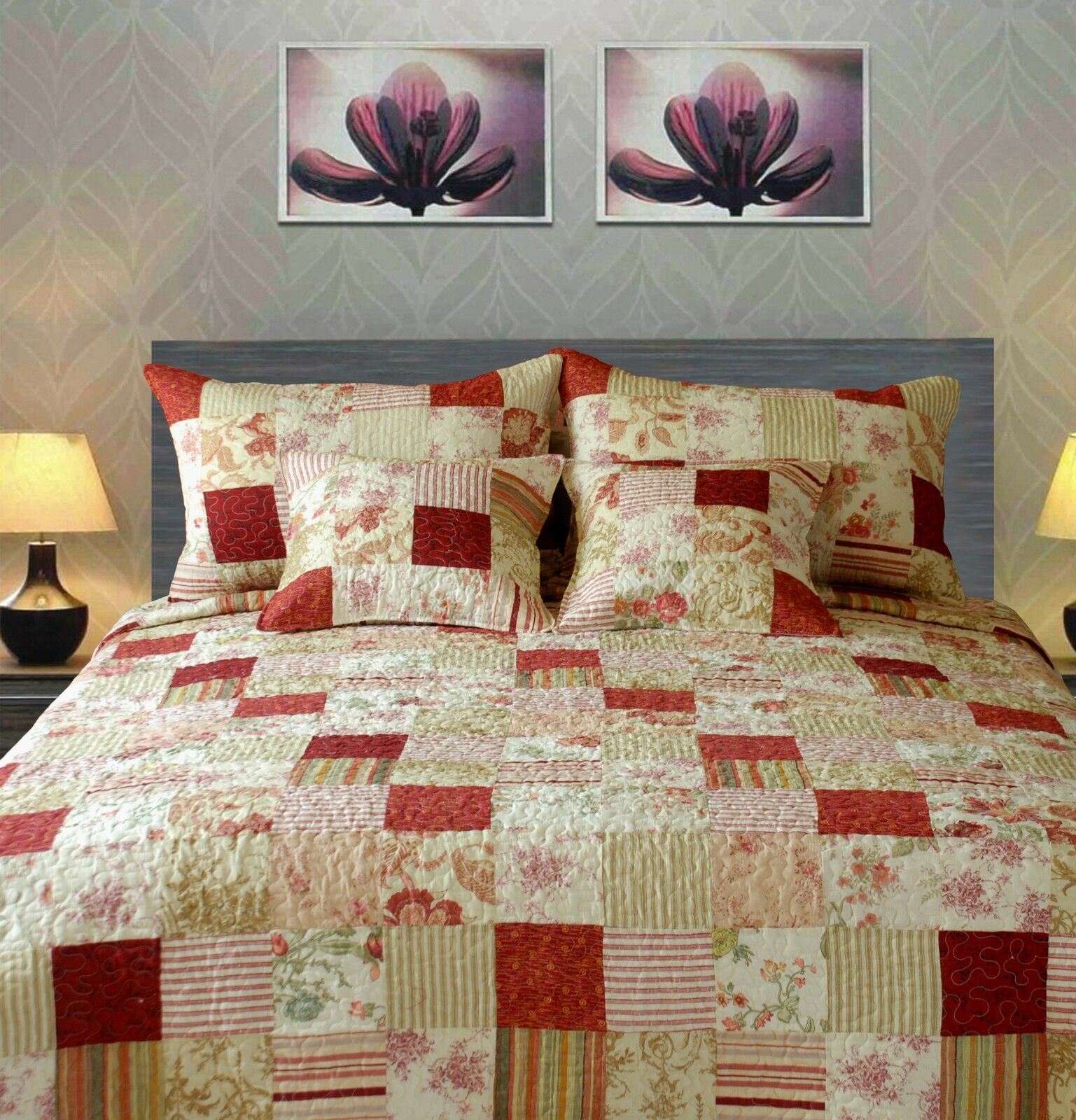 Tache Cotton Patchwork Strawberry Field Red Pink Reversible Bedspread Quilt Set