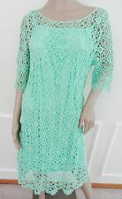 Nwt Lauren Ralph Lauren Crocheted Lace Cocktail Sheath Dress Sz L Large Green