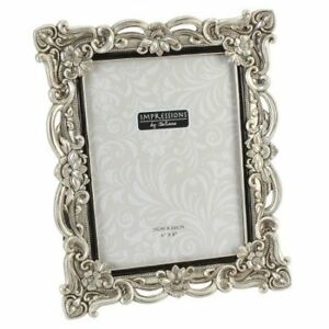 Impressions-Antique-Silver-Floral-Resin-Photo-Frame-with-Crystals-6-x-8