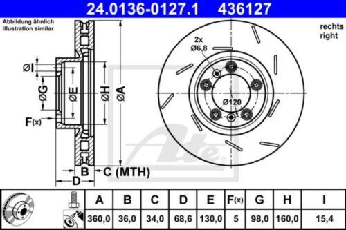 ATE Bremsscheibe Bremsscheiben Bremsen Vorne rechts 24.0136-0127.1