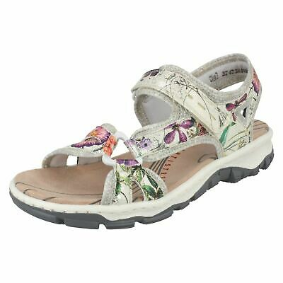 Multi Coloured Floral Cross Over Strap Sandal By Rieker At